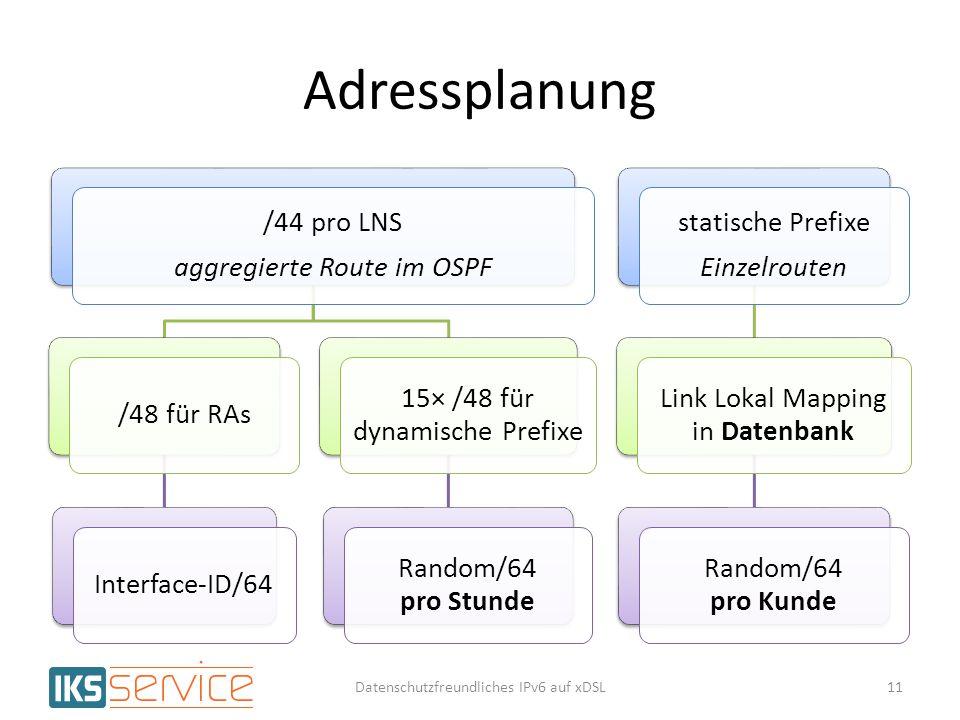 Adressplanung /44 pro LNS aggregierte Route im OSPF /48 für RAs
