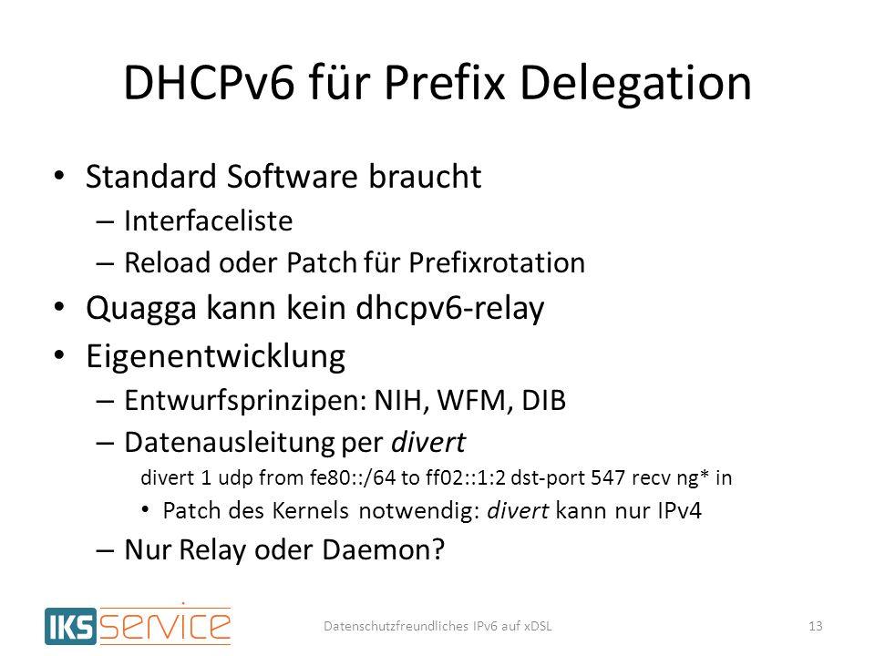 DHCPv6 für Prefix Delegation