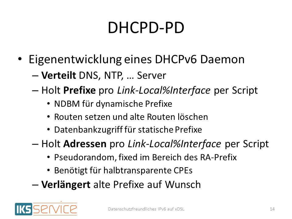 Datenschutzfreundliches IPv6 auf xDSL