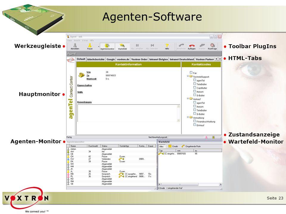 Agenten-Software Werkzeugleiste ● ● Toolbar PlugIns ● HTML-Tabs