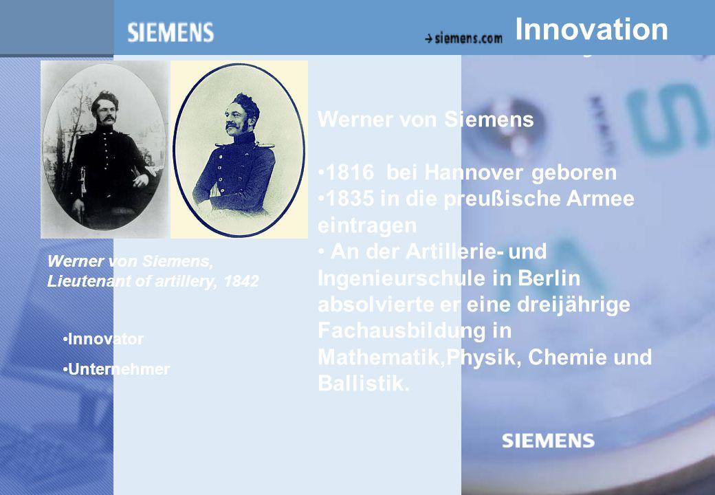 z Innovation Werner von Siemens 1816 bei Hannover geboren