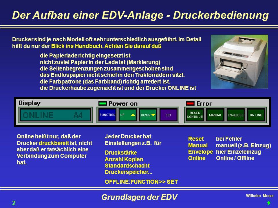 Der Aufbau einer EDV-Anlage - Druckerbedienung