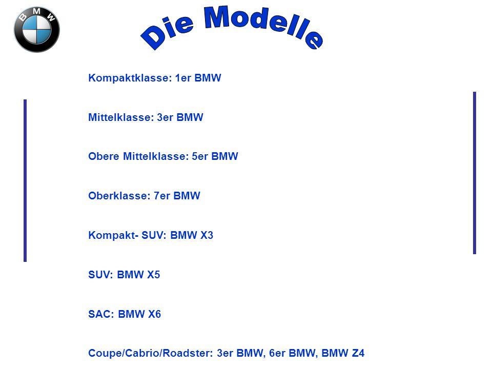 Die Modelle Kompaktklasse: 1er BMW Mittelklasse: 3er BMW