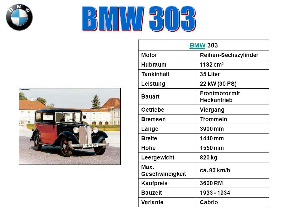 BMW 303 BMW 303 Motor Reihen-Sechszylinder Hubraum 1182 cm³ Tankinhalt