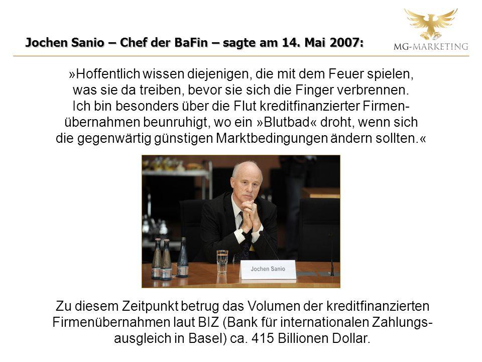 Jochen Sanio – Chef der BaFin – sagte am 14. Mai 2007: