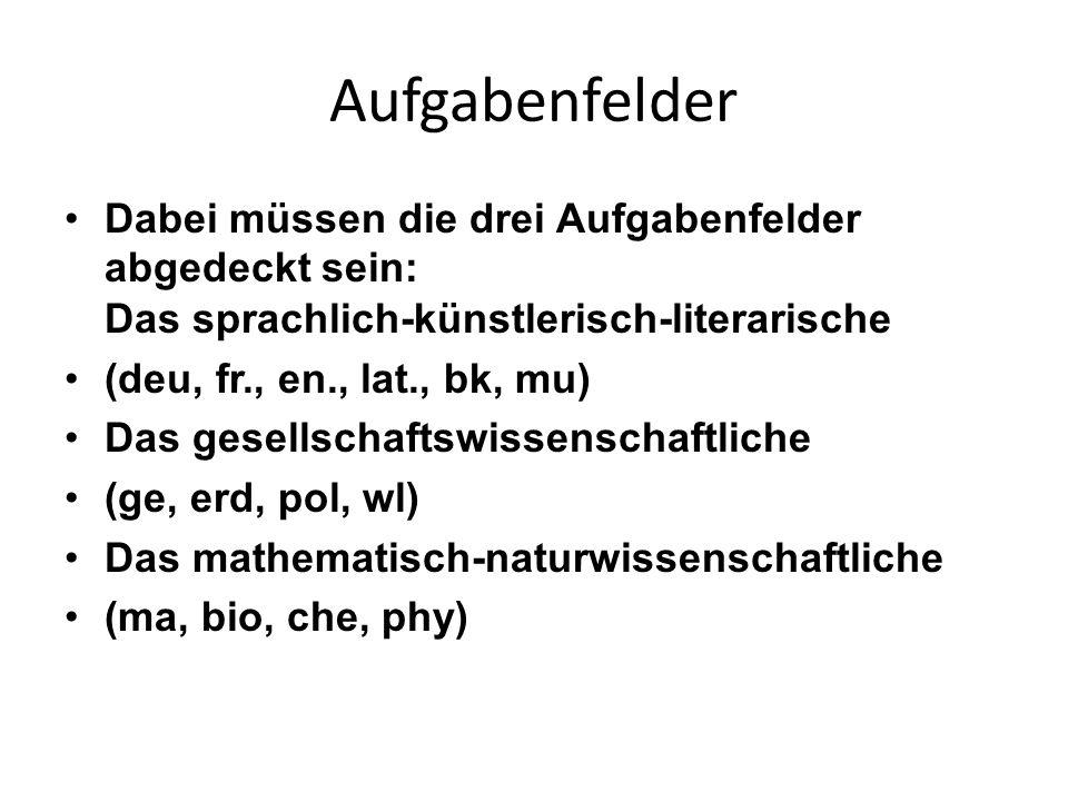 Aufgabenfelder Dabei müssen die drei Aufgabenfelder abgedeckt sein: Das sprachlich-künstlerisch-literarische.