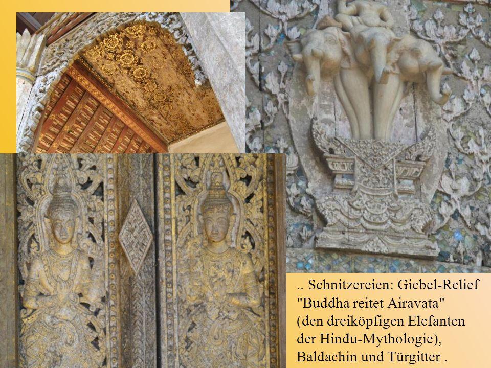 .. Schnitzereien: Giebel-Relief Buddha reitet Airavata