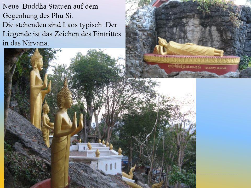 Neue Buddha Statuen auf dem Gegenhang des Phu Si.