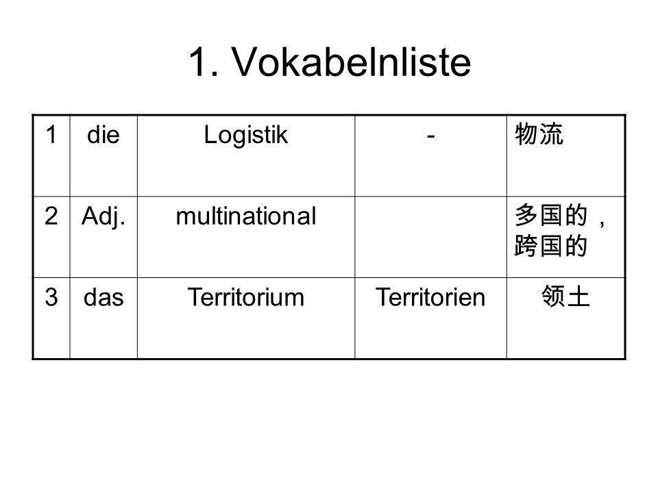 1. Vokabelnliste 1 die Logistik - 物流 2 Adj. multinational 多国的,跨国的 3