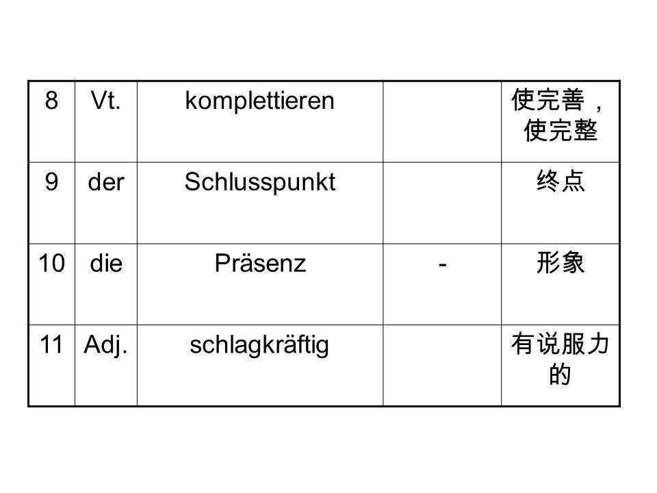 8 Vt. komplettieren 使完善,使完整 9 der Schlusspunkt 终点 10 die Präsenz - 形象 11 Adj. schlagkräftig 有说服力的