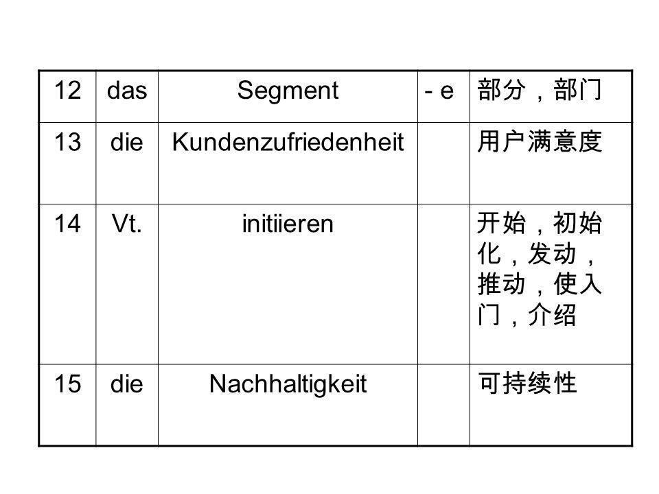 12 das. Segment. - e. 部分,部门. 13. die. Kundenzufriedenheit. 用户满意度. 14. Vt. initiieren. 开始,初始化,发动,推动,使入门,介绍.