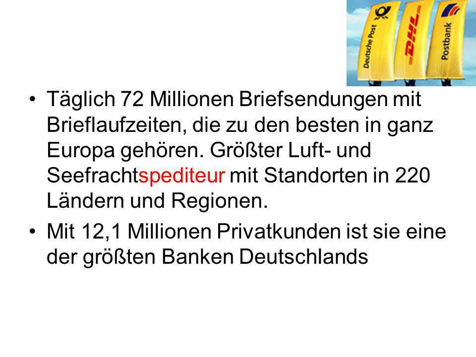 Täglich 72 Millionen Briefsendungen mit Brieflaufzeiten, die zu den besten in ganz Europa gehören. Größter Luft- und Seefrachtspediteur mit Standorten in 220 Ländern und Regionen.