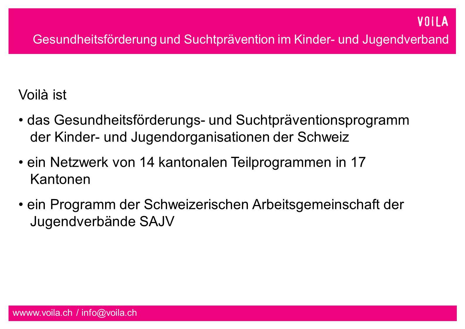 ein Netzwerk von 14 kantonalen Teilprogrammen in 17 Kantonen
