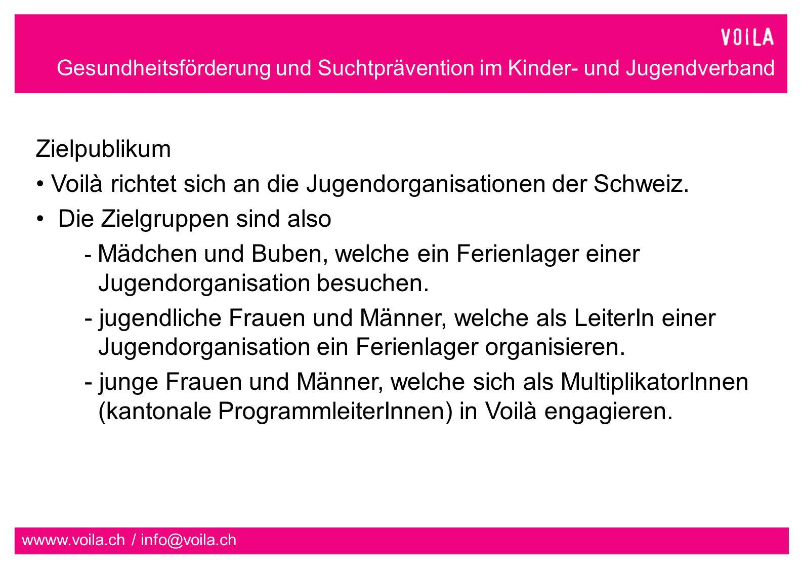 Voilà richtet sich an die Jugendorganisationen der Schweiz.