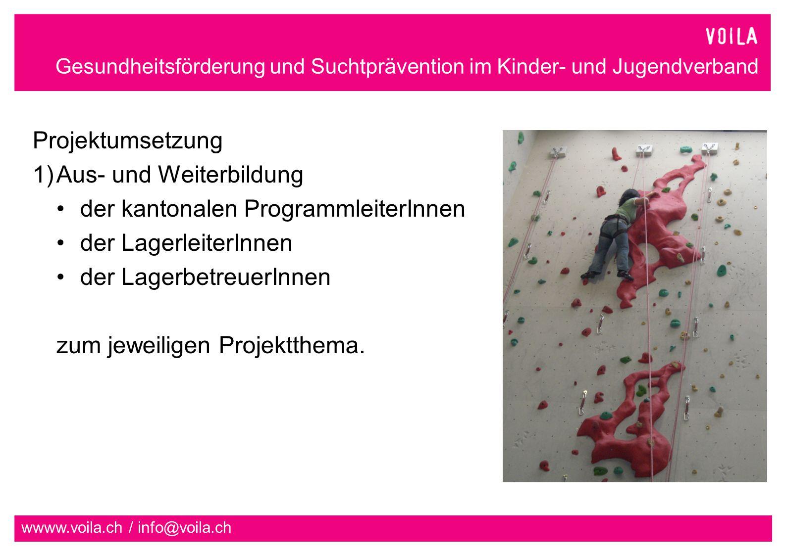 Projektumsetzung Aus- und Weiterbildung. der kantonalen ProgrammleiterInnen. der LagerleiterInnen.