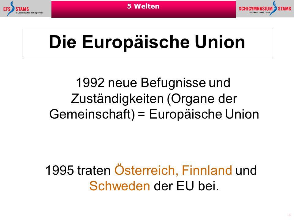 1995 traten Österreich, Finnland und Schweden der EU bei.