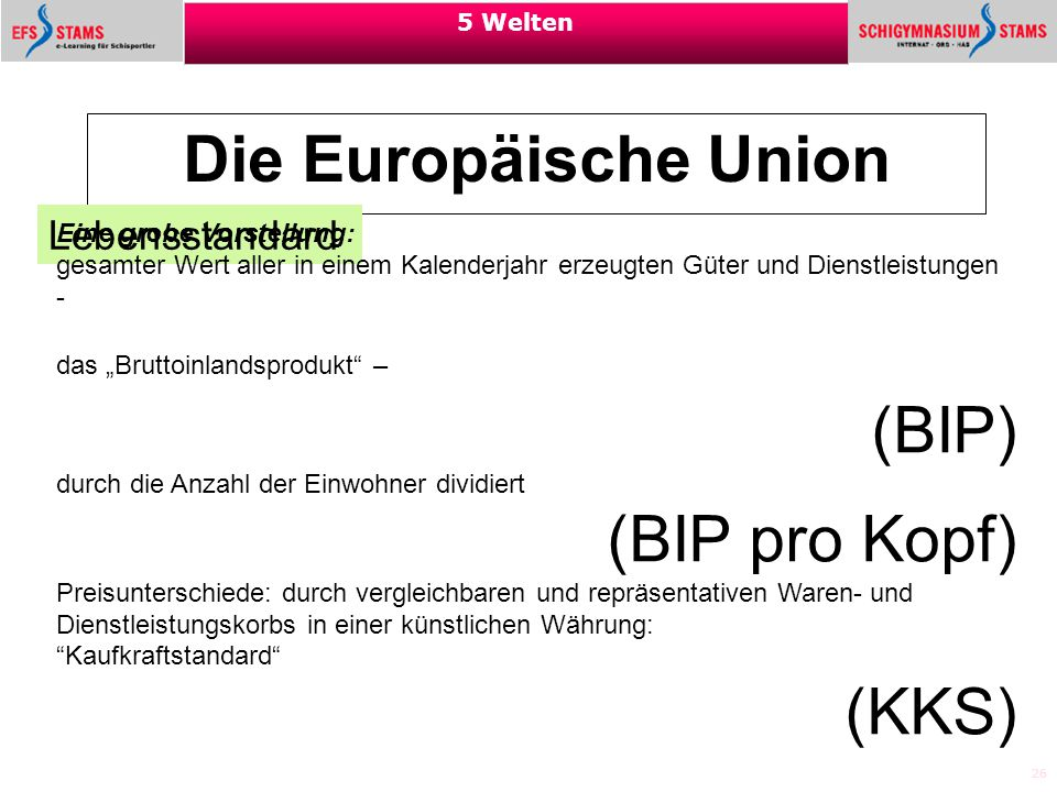 Die Europäische Union (BIP) (BIP pro Kopf) (KKS) Lebensstandard
