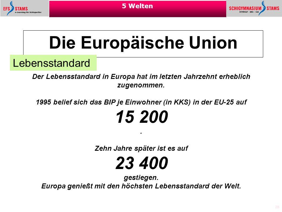 Die Europäische Union 15 200 23 400 Lebensstandard