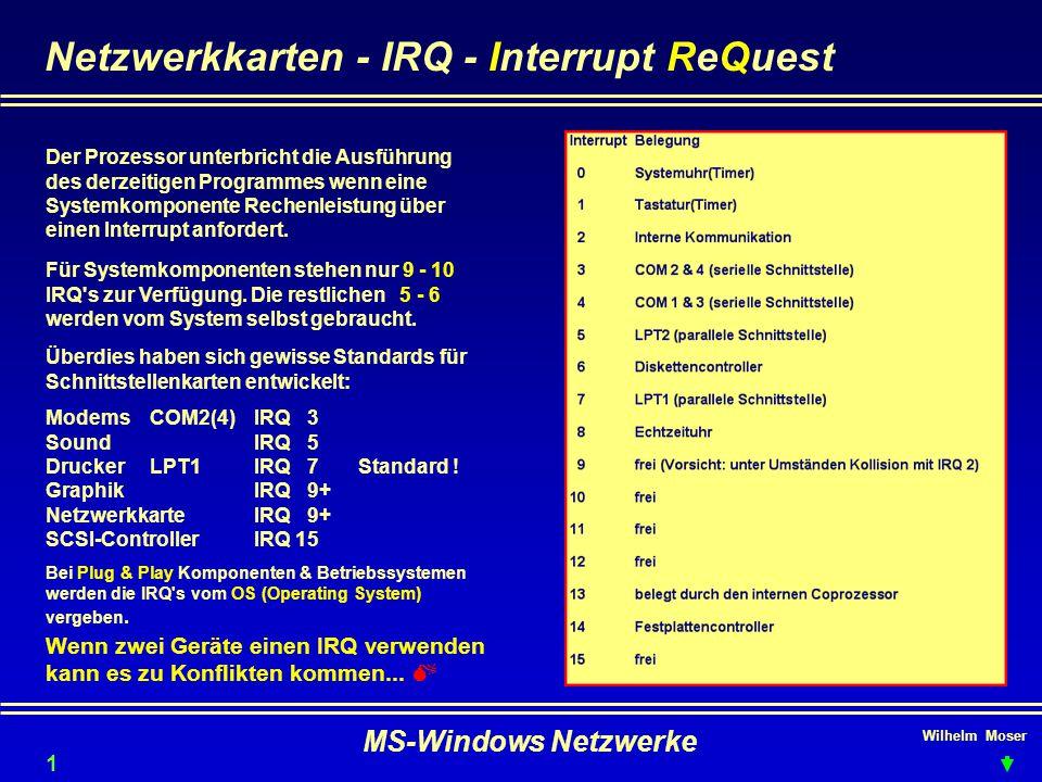 Netzwerkkarten - IRQ - Interrupt ReQuest
