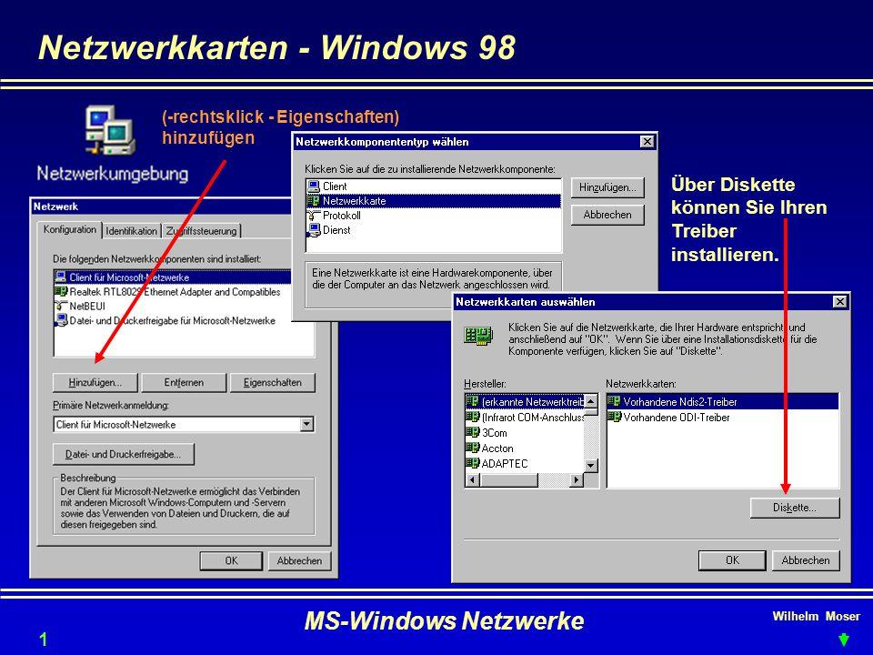 Netzwerkkarten - Windows 98