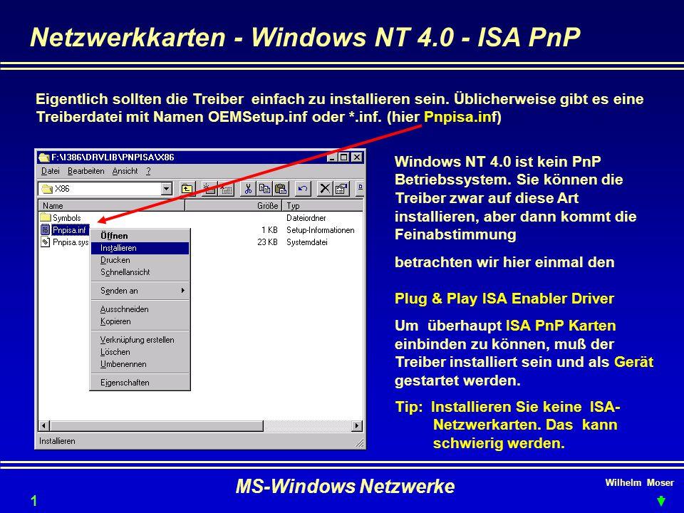 Netzwerkkarten - Windows NT 4.0 - ISA PnP