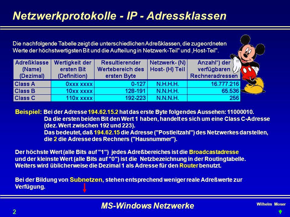 Netzwerkprotokolle - IP - Adressklassen