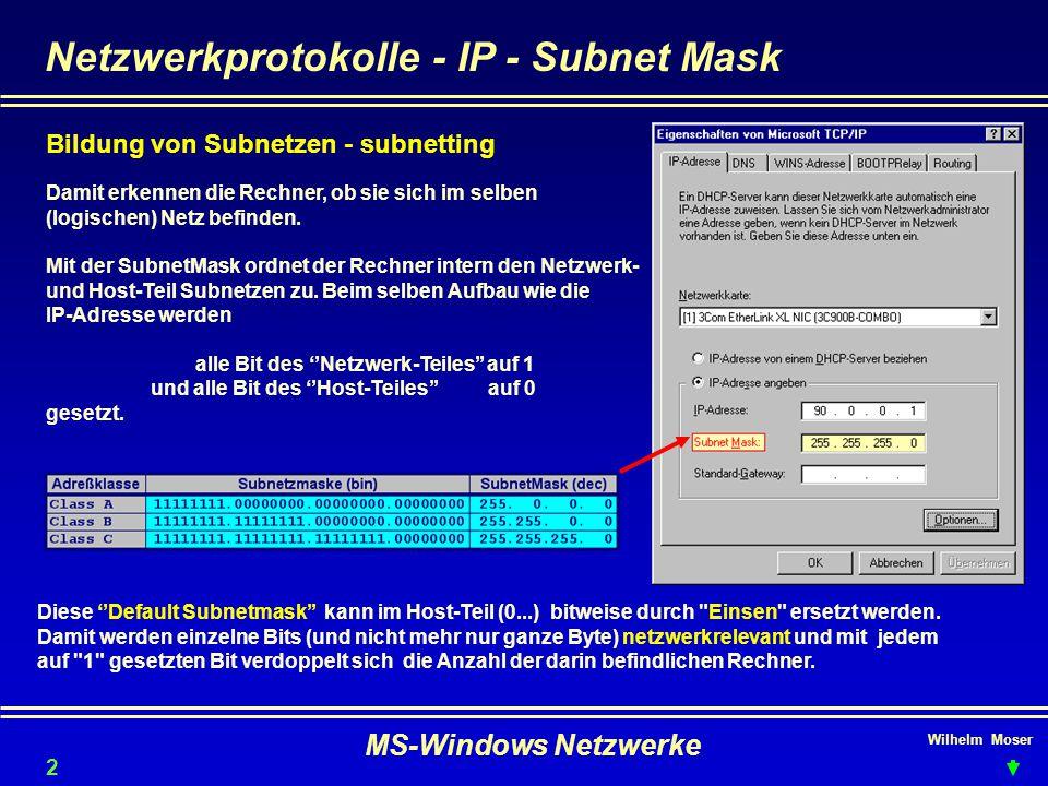 Netzwerkprotokolle - IP - Subnet Mask