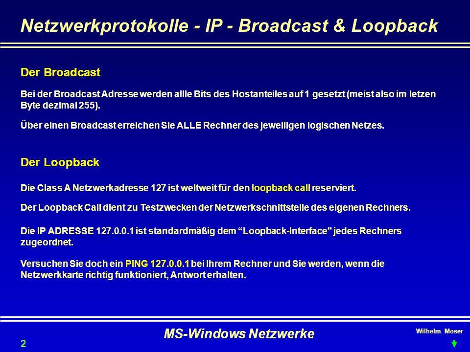 Netzwerkprotokolle - IP - Broadcast & Loopback