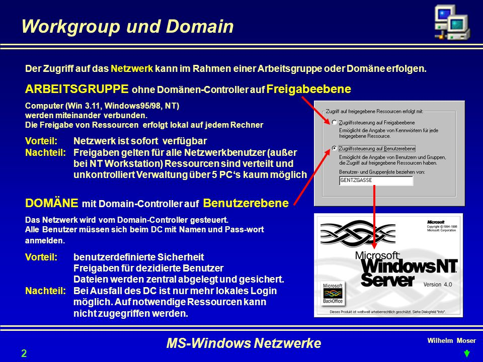 Workgroup und Domain MS-Windows Netzwerke
