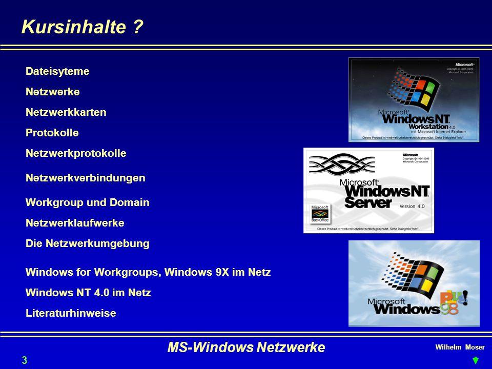 Kursinhalte MS-Windows Netzwerke Dateisyteme Netzwerke