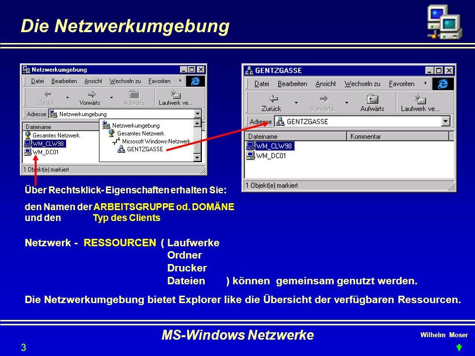 Die Netzwerkumgebung MS-Windows Netzwerke