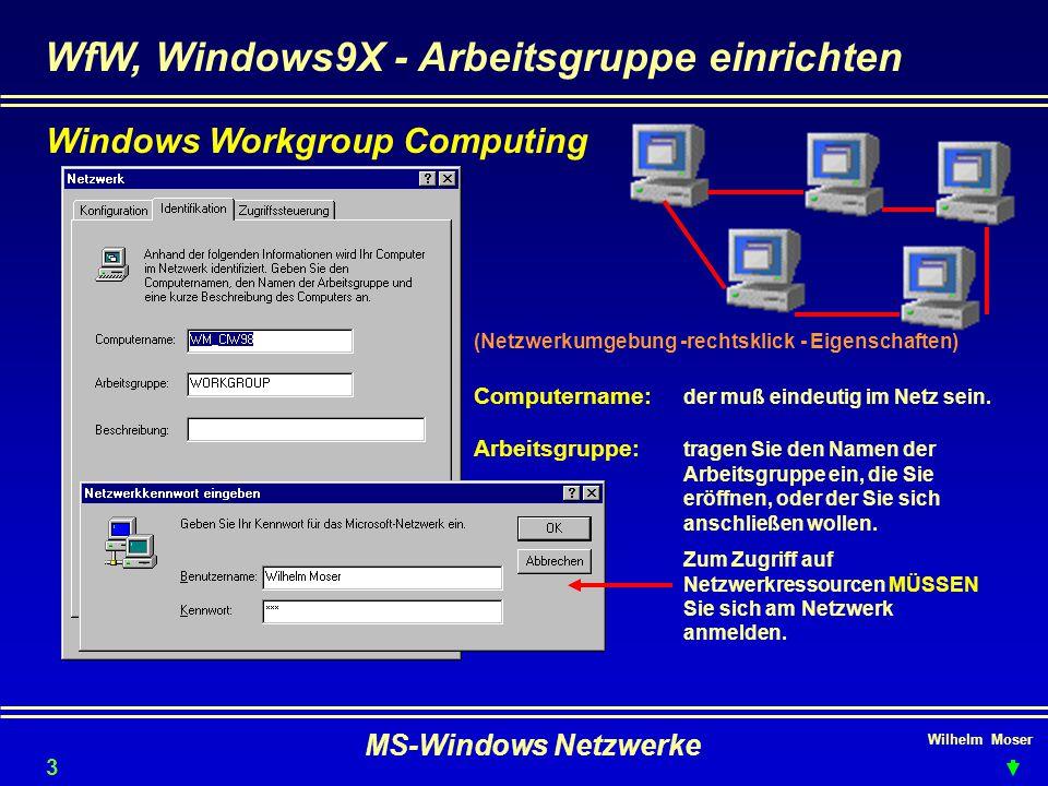 WfW, Windows9X - Arbeitsgruppe einrichten