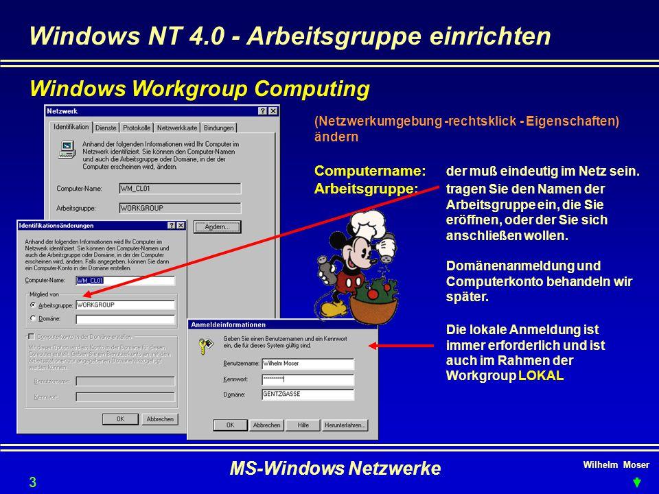 Windows NT 4.0 - Arbeitsgruppe einrichten