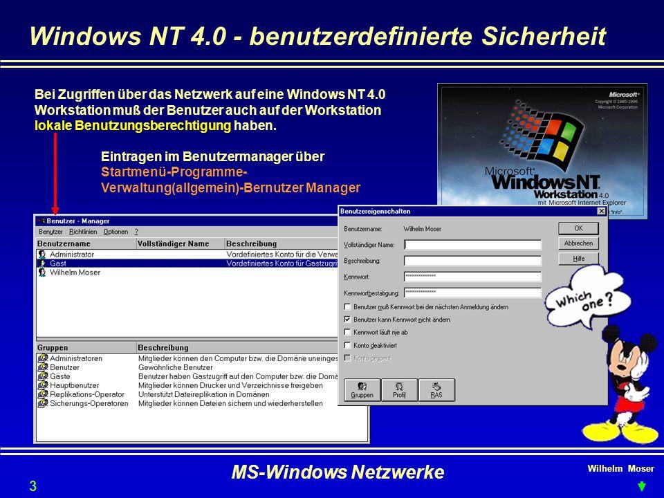 Windows NT 4.0 - benutzerdefinierte Sicherheit