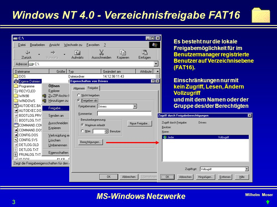 Windows NT 4.0 - Verzeichnisfreigabe FAT16