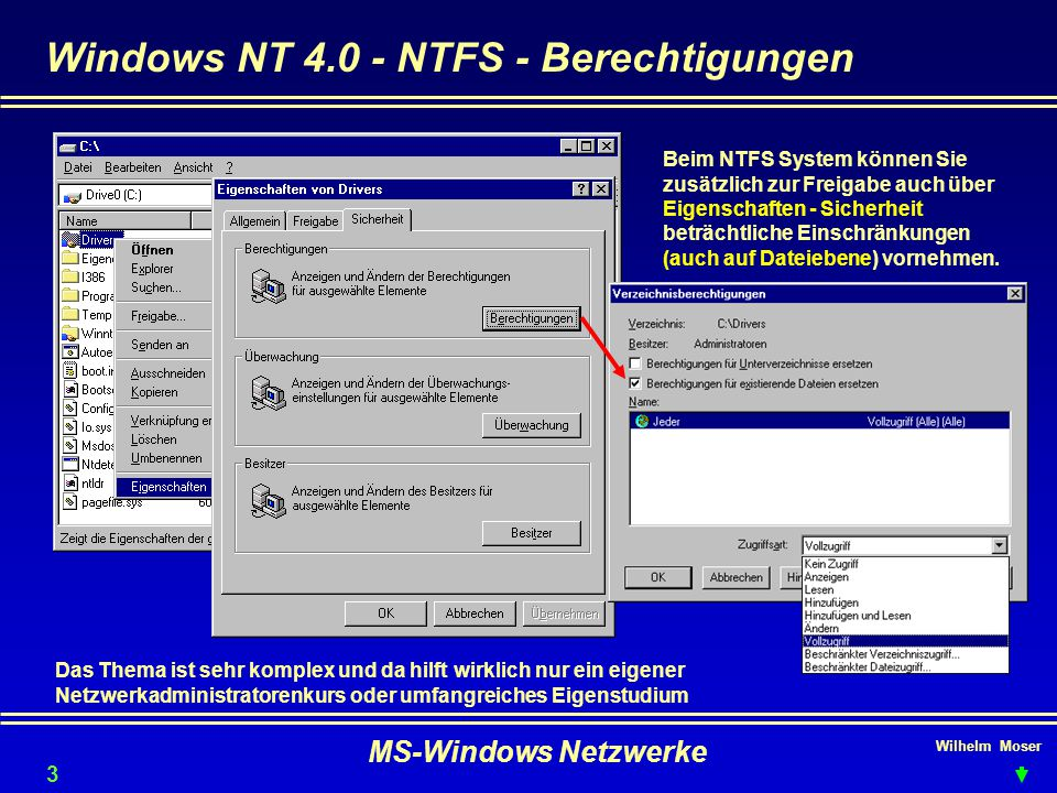Windows NT 4.0 - NTFS - Berechtigungen