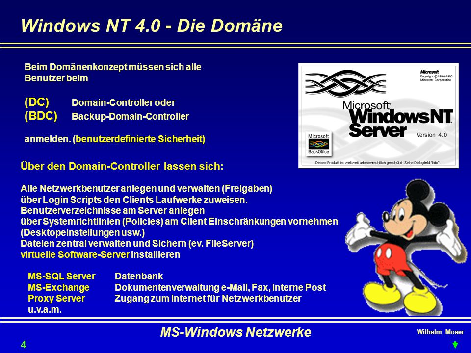 Windows NT 4.0 - Die Domäne MS-Windows Netzwerke