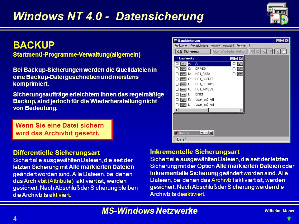 Windows NT 4.0 - Datensicherung