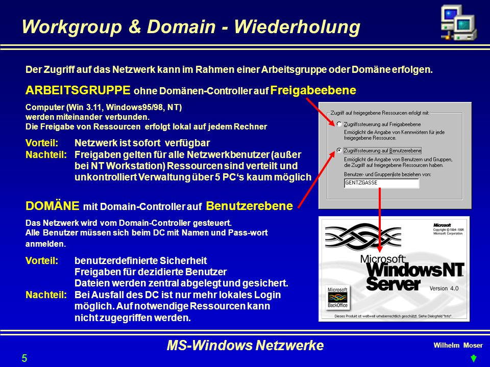 Workgroup & Domain - Wiederholung