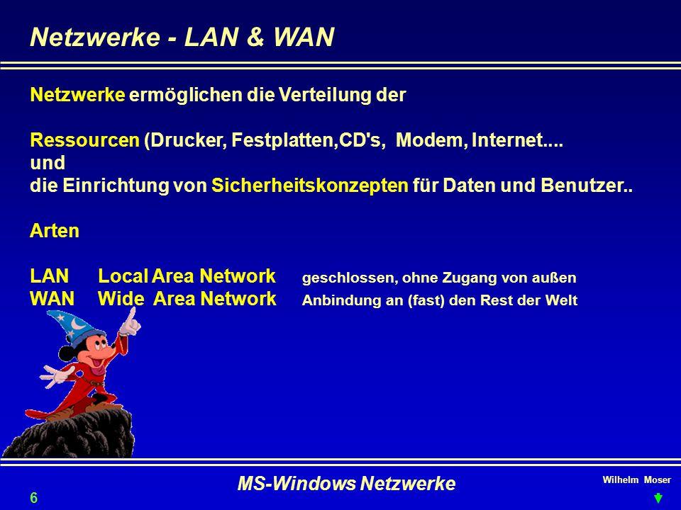 Netzwerke - LAN & WAN Netzwerke ermöglichen die Verteilung der
