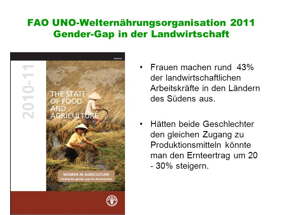 FAO UNO-Welternährungsorganisation 2011 Gender-Gap in der Landwirtschaft