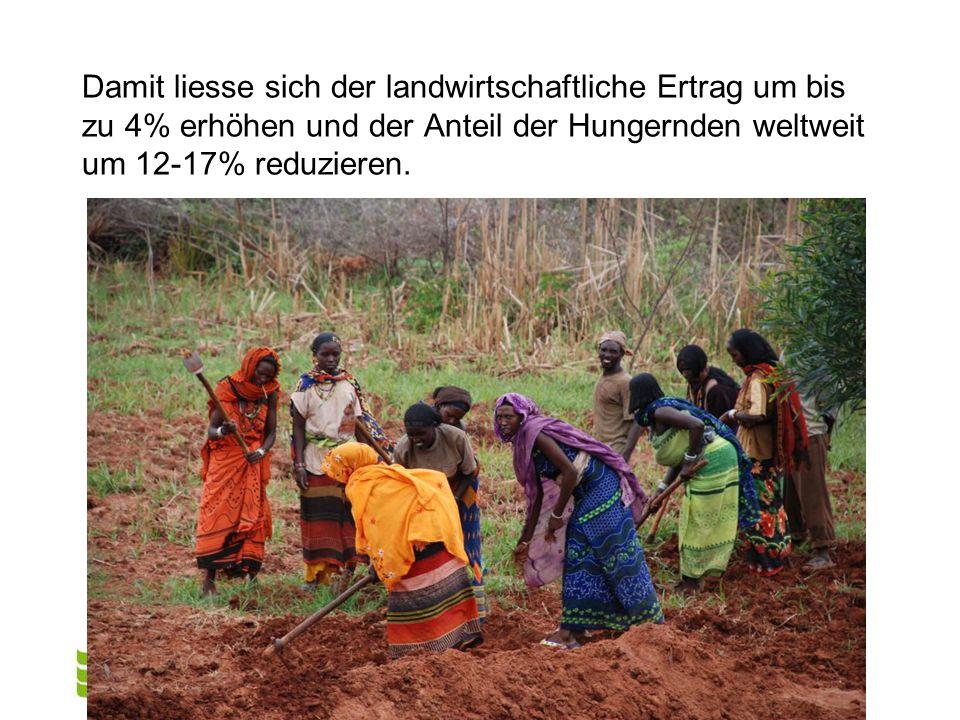 Damit liesse sich der landwirtschaftliche Ertrag um bis zu 4% erhöhen und der Anteil der Hungernden weltweit um 12-17% reduzieren.