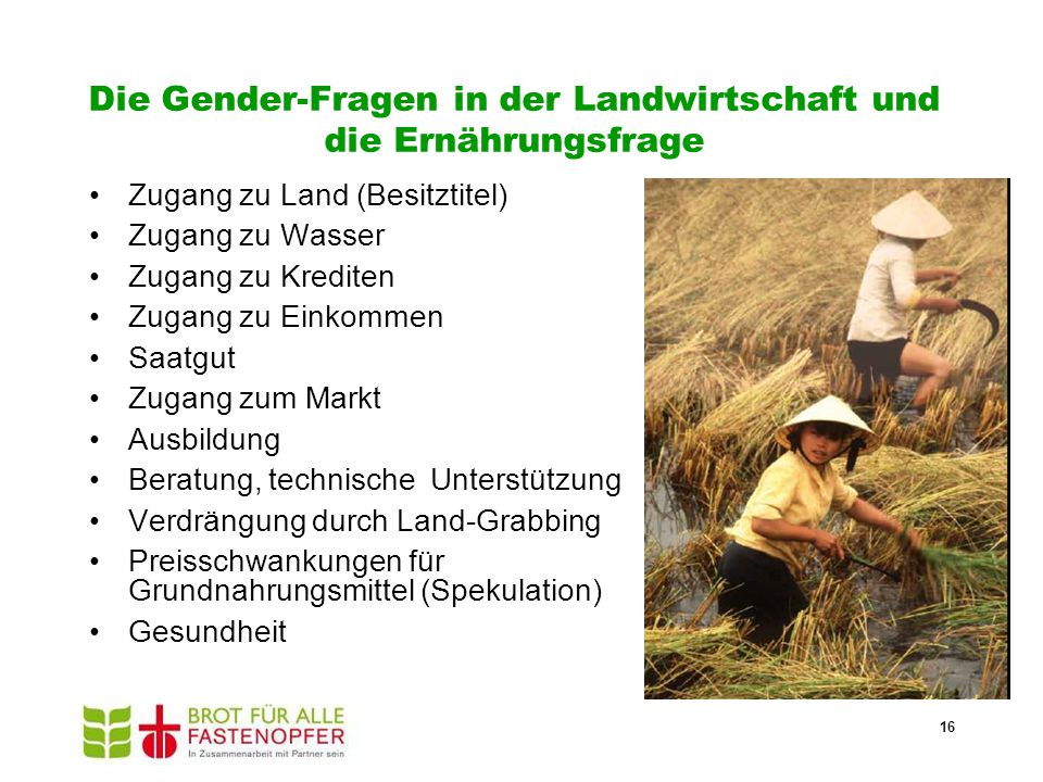 Die Gender-Fragen in der Landwirtschaft und die Ernährungsfrage
