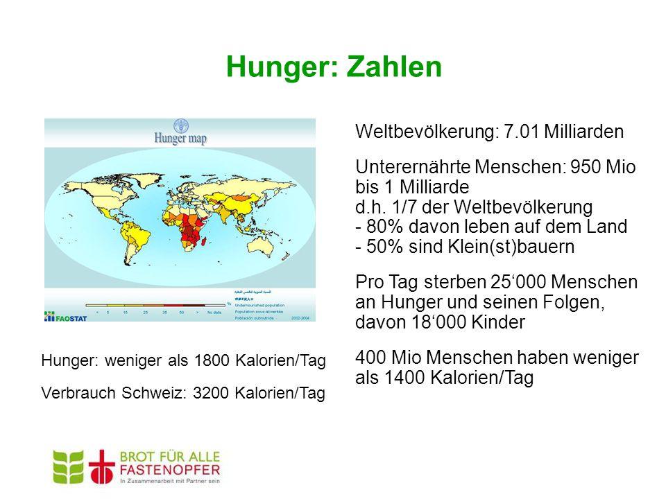Hunger: Zahlen Weltbevölkerung: 7.01 Milliarden