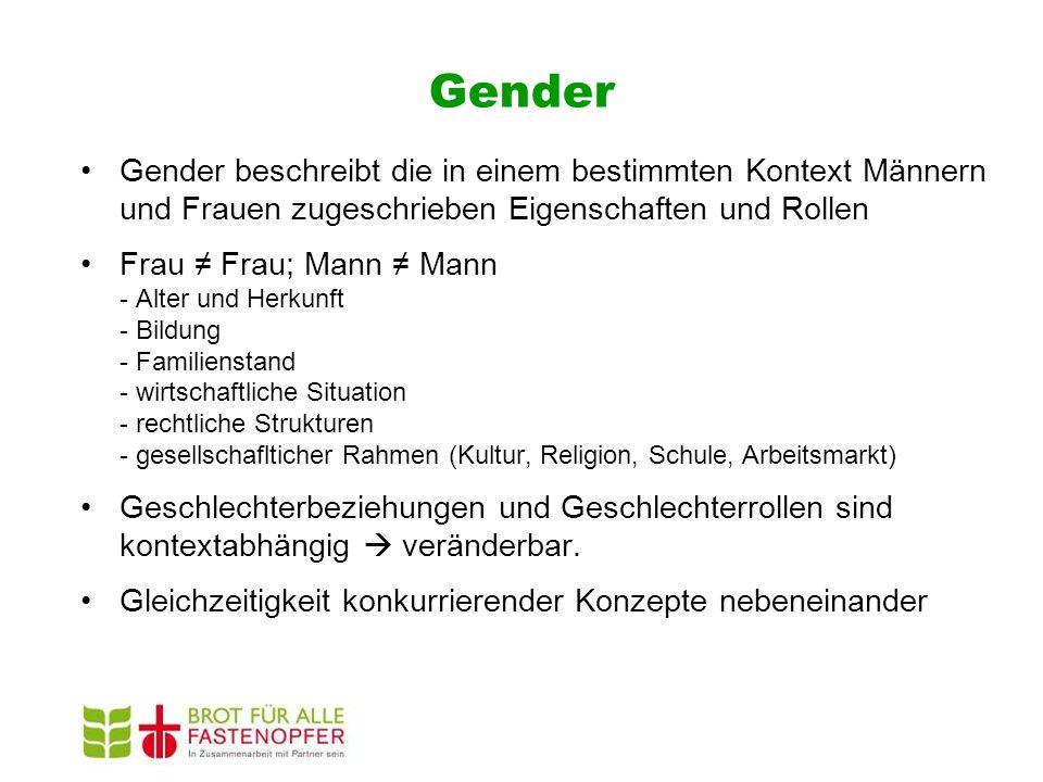 Gender Gender beschreibt die in einem bestimmten Kontext Männern und Frauen zugeschrieben Eigenschaften und Rollen.