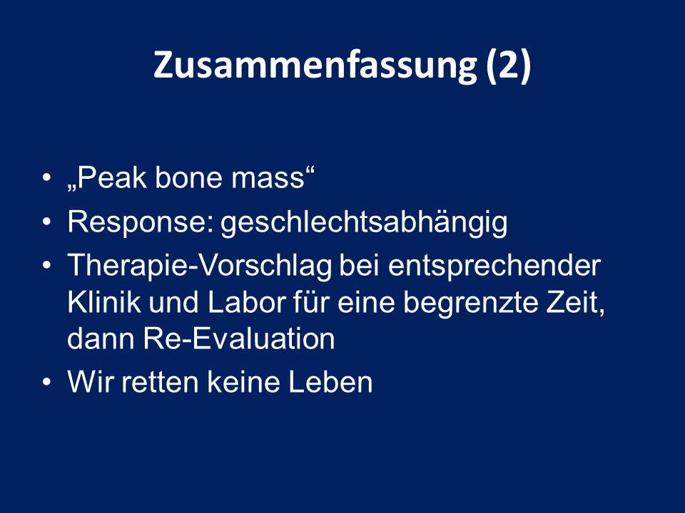 """Zusammenfassung (2) """"Peak bone mass Response: geschlechtsabhängig"""