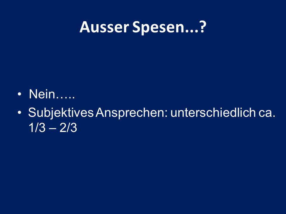 Ausser Spesen... Nein….. Subjektives Ansprechen: unterschiedlich ca. 1/3 – 2/3