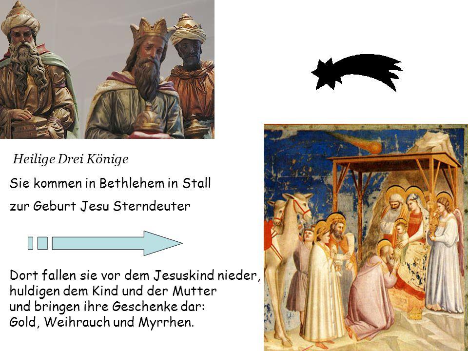 Heilige Drei Könige Sie kommen in Bethlehem in Stall. zur Geburt Jesu Sterndeuter. Dort fallen sie vor dem Jesuskind nieder,