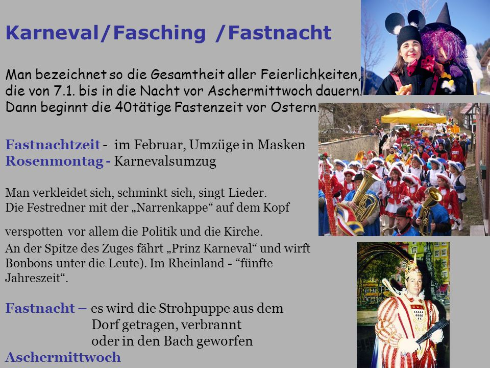 Karneval/Fasching /Fastnacht
