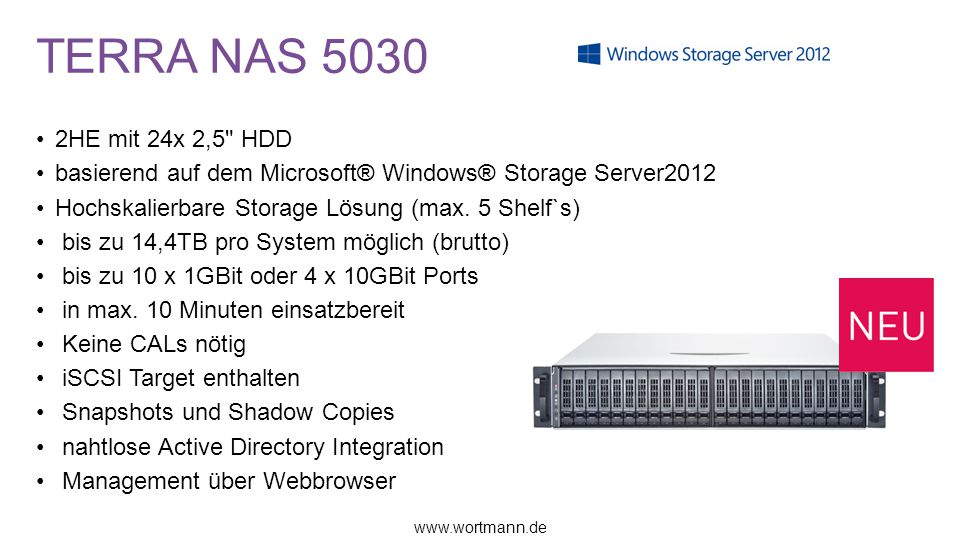TERRA NAS 5030 2HE mit 24x 2,5 HDD. basierend auf dem Microsoft® Windows® Storage Server2012. Hochskalierbare Storage Lösung (max. 5 Shelf`s)